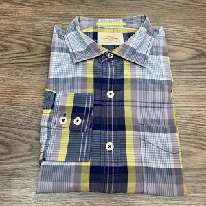 Tommy Bahama Blue & Purple Plaid Shirt L